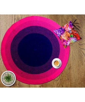 Pink plain cotton rugs Medium Round
