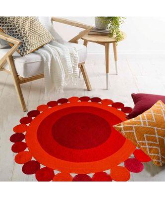 Red plain cotton rugs Medium Round