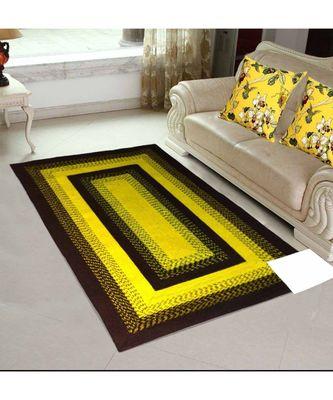 Yellow plain cotton rugs Medium Round