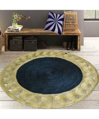 grey plain jute rugs Large Round