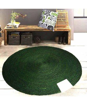 green plain jute rugs Large Round
