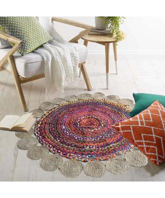 multicolor plain jute rugs Medium Round