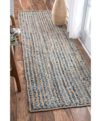 Blue plain cotton rugs 22 X 55 Inches