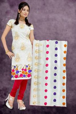 Sihiri White Banaras Supernet Dress Material Punjabi Suit with White Dupatta