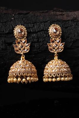Gold Plated Stone Embellished Designer Jhumkas