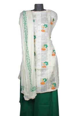 Sihiri White Resham Tani Supernet Dress Material Punjabi Suit with White Dupatta