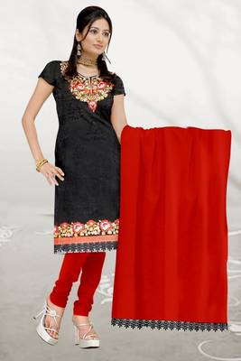 Sihiri Black Georgette Dress Material Punjabi Suit with Red Chiffon Dupatta