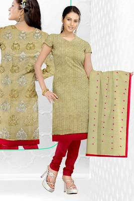 Sihiri Biege Banaras cotton Silk Dress Material Punjabi Suit with Biege Banaras Cotton Silk Dupatta