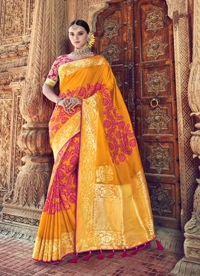 Orange woven patola saree with blouse