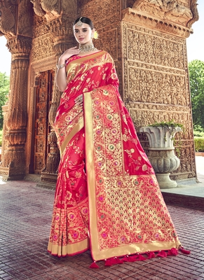rani pink woven patola saree with blouse