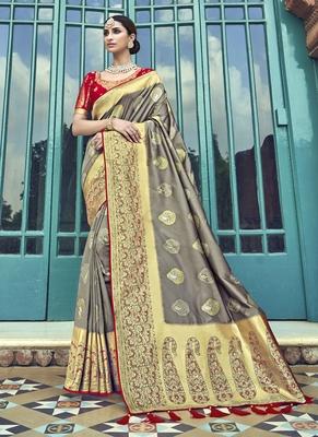 Grey woven patola saree with blouse