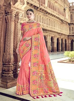 Peach woven patola saree with blouse