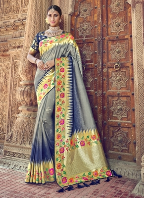 Grey woven patola saree with blouse