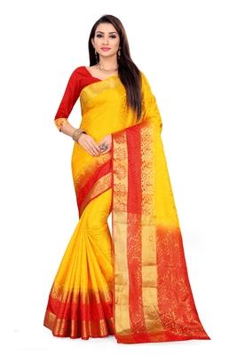 Dark yellow printed art silk saree with blouse