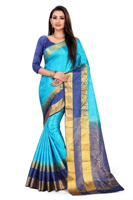 Dark sky blue printed art silk saree with blouse