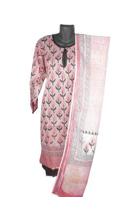 Sihiri Pink Banaras cotton Silk Print Dress Material Punjabi Suit with Supernet Printed Pink Dupatta