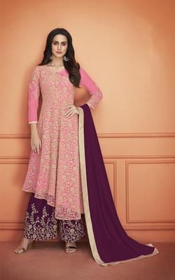 Pink embroidered net salwar
