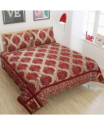 FRIMERR Soft Touch Chenille Fabric Jacquard Woven Heavy Double bed sheet with two pillow covers