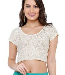 Women's White Cotton Lycra Readymade Free Size Stretchable Saree Blouse
