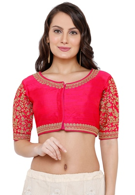 Women's Pink Cotton Silk Readymade Free Size Saree Blouse