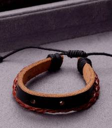Cool Stacked Black Brown Leather Wrap Bracelet