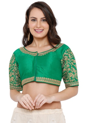 Women's Green Cotton Silk Readymade Free Size Saree Blouse