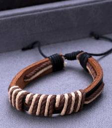 Black Leather Thread Wrap Bracelet from Cool Stacked