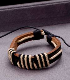 Brown Leather Black Thread Adjustable Bracelet from Cool Stacked