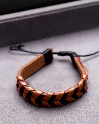 Black Leather Brown Woven Bracelet from Cool Stacked