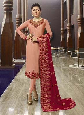 pink embroidered satin semi stitched salwar with dupatta