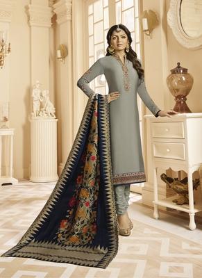 Grey Embroidered Satin Semi Stitched Salwar With Dupatta