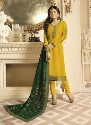 Yellow embroidered satin semi stitched salwar with dupatta