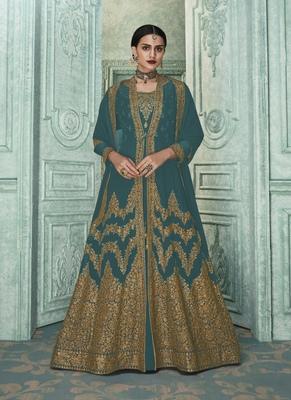 Teal Embroidered Georgette Salwar