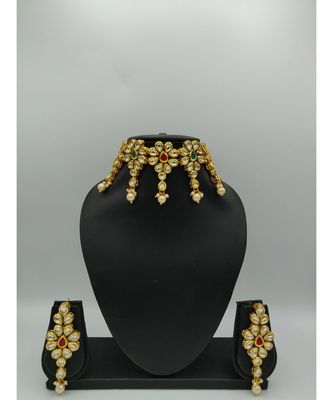 Red And Green Kundan Designer Choker  Necklace Sets