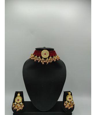 Red Beaded Designer Choker Necklace Sets