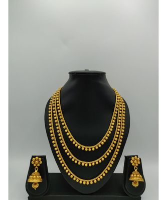 Gold Plated Multi Layer Traditional Necklace Sets For Womens