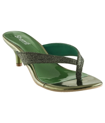 green SHOES KITTEN HEELS MULES