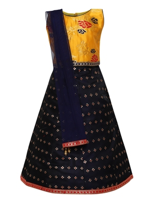 Girl'S   Blue Slik Lehenga Choli And Dupatta Set