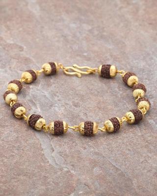 Faux Rudraksha Beads Gold Tone Bracelet