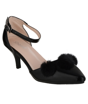 black SHOES KITTEN HEELS SANDALS