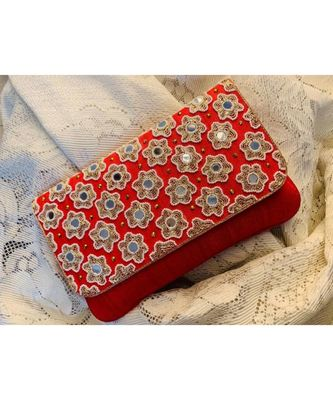 Red Brocade Designer Mirror Clutch