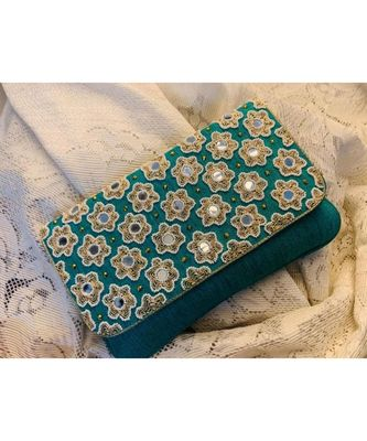 Green Brocade Designer Mirror Clutch