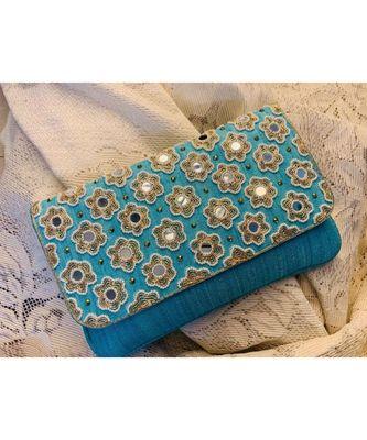 blue Brocade Designer Mirror Clutch