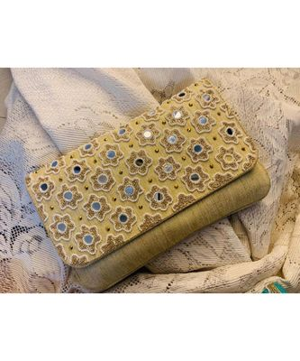 Gold Brocade Designer Mirror Clutch