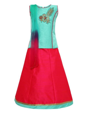 Girl'S   Pink Slik Lehenga Choli And Dupatta Set