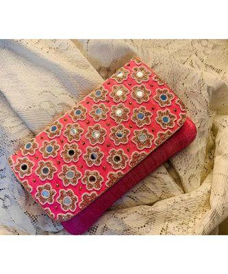 Pink Brocade Designer Mirror Clutch