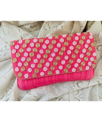 Pink Brocade Designer Everyday Clutch