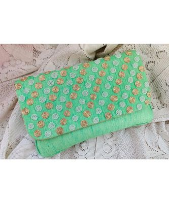 Green Brocade Designer Everyday Clutch