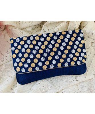 Blue Brocade Designer Everyday Clutch
