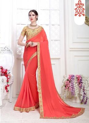 Dark peach embroidered chiffon saree with blouse